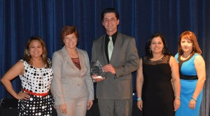 Pictured left to right at the awards ceremony on March 8 are: Doris Baeza, Highland Manor Director of Marketing & Sales; Tracey D. Green, M.D., Health and Human Services Chief Medical Officer; James Sullivan, Higland Manor Administrator; Rosa Paucar, Director of Nursing at the Manor; and Veronica Cruz, assistant administrator. Courtesy Photo