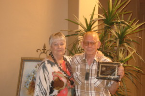 Judi DePew, outgoing Lions President and Lion of the year, Bruce Allsop. Submitted photo.