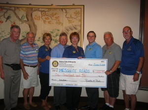 Members of the Rotary Club of Mesquite, left to right: Ivan Ketterman, treasurer; Joe Woodward; Linda Gault, president-elect; Jeff Bird; Robert Bird, president; Ron Bird; John Berard; and Jake Noll. Submitted photo.