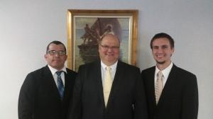 1st Counselor, Mere Calderon; President David Leavitt; 2nd Counselor Kyle Hughes
