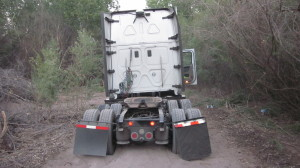 Semi-truck that was stuck in the dirt on a 4-wheeler road. Submitted photo.