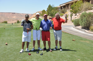 One-armed golfers get ready to tee off Thursday in the Match Play Championship round at the Falcon Ridge Golf Course in Mesquite, Nevada. Pictured are (left to right): Jesse Florkowski, Xander in the arm unassisted, and John Rogers and Klaus Schaloske in the arm assisted division. (Photo by Terri Rylander)