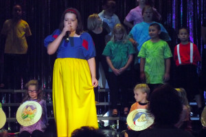"Snow White (Madison Marshall) rehearses her solo ""Some Day My Prince Will Come"" during Tuesday's dress rehearsal of Mesquite Kids on Stage's Disney Review."