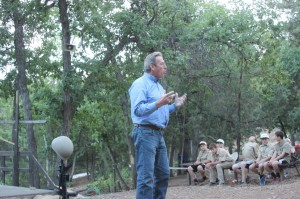 Larry Burns speaking at Boy Scout Camp
