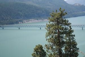 Looking down at the bridge crossing Lake Koocanusa near Rexford Montana