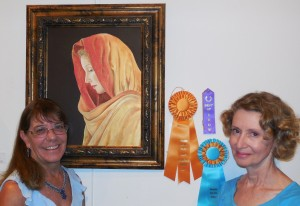 Meditation, painting by Judith Hetem, right, swept the three top awards in the exhibition Pause and Reflect, sponsored by Barbara Ellestad, left.