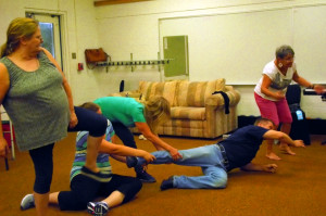 Patty Amore, Erika Marler, Roberta Brocius, Dan Nielsen and Bunny Wiseman rehearse a bit of the choreography for Fly Willie during the Virgin Valley Theatre Group's Actor's Workshop. Photo by Teri Nehrenz