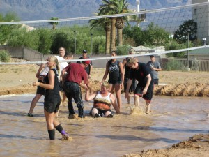 Although victorious throughout the day, the Mesa View Mud Wallowers had their share of falls throughout the competition, but came together as a team to help each other back up. Photo by Stephanie Frehner.