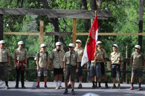 Each morning the scouts would gather for the Flag Ceremony.