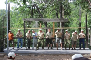 Scout leaders doing a skit