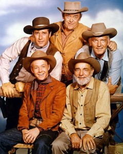 Cast of Wagon Train. Back row, (l-r) Robert Fuller, John McIntire, Terry Wilson Front row, (l-r) Michael Burns, Frank McGrath