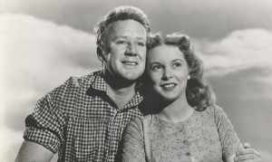 Publicity still of Van Johnson and Janet Leigh in her first film The Romance of Rosy Ridge, 1947