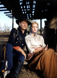 Color publicity still of John Wayne and Constance Towers in The Horse Soldiers