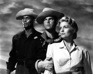 Publicity still of Woody Strode, Jeffrey Hunter, and Constance Towers in Sergeant Rutledge