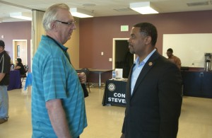Representative Horsford talks with Overton Power District Trustee Bill Hurd