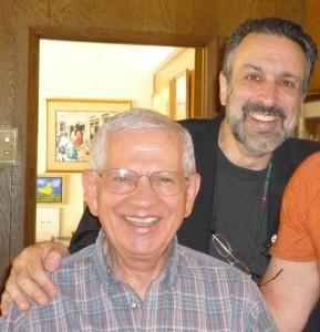 Recent photo of Robert Clary with nephew, singer-song writer Brian Gari. Photo provided by Brian Gari