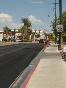 This view shows how only one lane of Sandhill Boulevard has been resealed as of Aug. 20. Photo by Stephanie Frehner.
