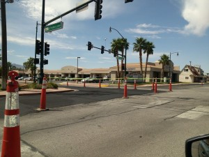 The City of Mesquite is currently in the process of repaving Sandhill Boulevard at the intersection of Hafen Lane and E Mesquite Boulevard. Photo by Stephanie Frehner.