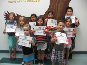 Students of the Month:  Back Row, left to right:  Jacie Leavitt, Alexia DeSantiago, Juliana Martinez, Mguel Kieyoani. Middle row, left to right:  Alectra Jackson, Gabriela Lopez, Brookly Bulinski. Front row:  left to right:  Justice Yanez and Taggert Reber.