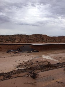 This is what I-15 looked like Monday afternoon at milemarker 92 in Moapa. The interstate is expected to be closed for several days, causing major travel challenges to everyone in the area. Image Courtesy of the Red Rock Search and Rescue Facebook page.