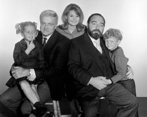 Family Affair cast. Anissa Jones, Brian Keith, Kathy Garver, Sebastian Cabot, Johnny Whitaker. Photo provided by Kathy Garver.