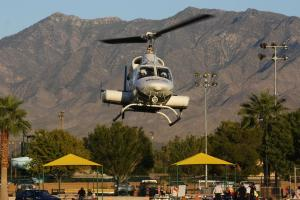 "'Mercy Helicopter' lands to the delight of all in attendance Thursday night at ""Mesquite Night Out"". Photo by Lou Martin"