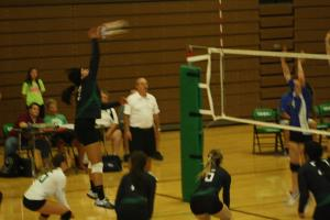 Bulldog Bernice Fiso stretches high on a kill shot during the Bulldogs 3-2 loss Wednesday night in the Dawg House.  Photo by Lou Martin.