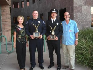 SOAR Recipents Mesquite PD Officer Wyatt Oliver and Firefighter Spencer Lewis, with Mesquite Rotary President Linda Gault and Rotary Assistant Governor Jake Noll. Submitted photo.