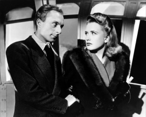 3. Norman Lloyd and Priscilla Lane in a scene from Hitchcock's Saboteur (1942)