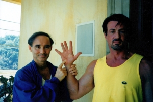 Anthony Carr with Sylvester Stallone in 1999