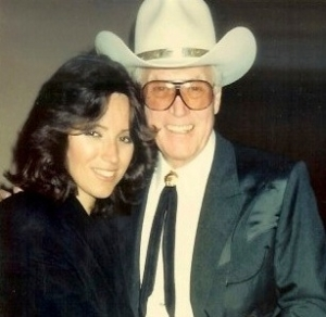 Dawn Moore with father Clayton Moore in 1990 when inducted into the National Cowboy Hall of Fame Provided by Dawn Moore