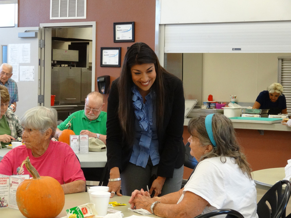 Flores meets with community