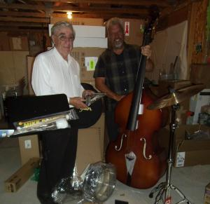 Dr. Spitzer and Larry LeMieux unpack the first wave of equipment for the Southern Nevada Symphony Orchestra. Submitted photo.