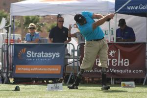 ParaLong Drive Open Division Champion Jared Brentz shows his strength and determination with a huge 352 drive Friday afternoon at the Mesquite Sports and Events Center. Photo by Lou Martin
