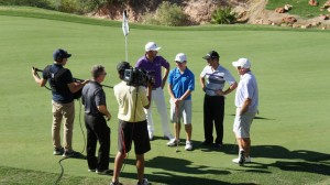 RJ talks with a film crew from the PGA Tour Tuesday while playing at Wolf Creek. Photo courtesy of Wolf Creek Golf Course