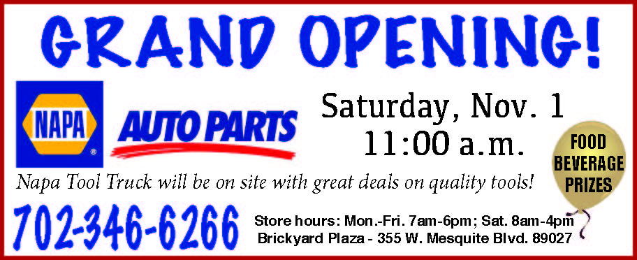 NAPA Auto Parts Plans Grand Opening