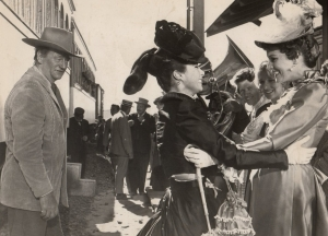 2. John Wayne and Maureen O'Hara greet daughter Stefanie Powers in McClintock