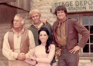 2. High Chaparral Cast photo - Leif Erickson,  Mark Slade, Henry Darrow and Linda Cristal,