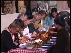 5.  Screen shot from the banquet scene in the episode For What We Are About to Receive - the Thanksgiving episode. Darrow front right