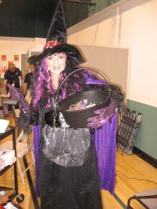 Third grade teacher, Mrs. Sandy Andrus as a witch