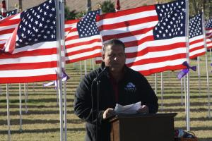 Wounded Warrior Project Peer Joe Perez, giving a moving speech on the help needed by veterans returning from America's conflicts around the world Photo by Lou Martin