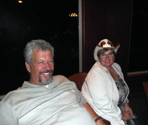 """Larry and Eva LeMieux relax at the cast party after the last showing of Virgin Valley Theatre Group's Musical """"Spitfire Grill"""" in May of 2011.  LeMieux directed this musical and several others for the VVTG."""
