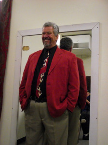 Larry LeMieux gives his cast a pep talk in the dressing room before one of the many productions he directed at the Mesquite Community Theatre.