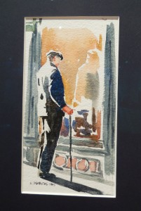 Watercolorist Karen March took the Lucky 13 Red Ribbon prize for People of Paris III