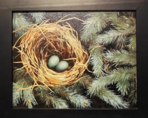 web Gini Hansens painting, Hidden Nest, claimed Lucky 13 Blue Ribbon