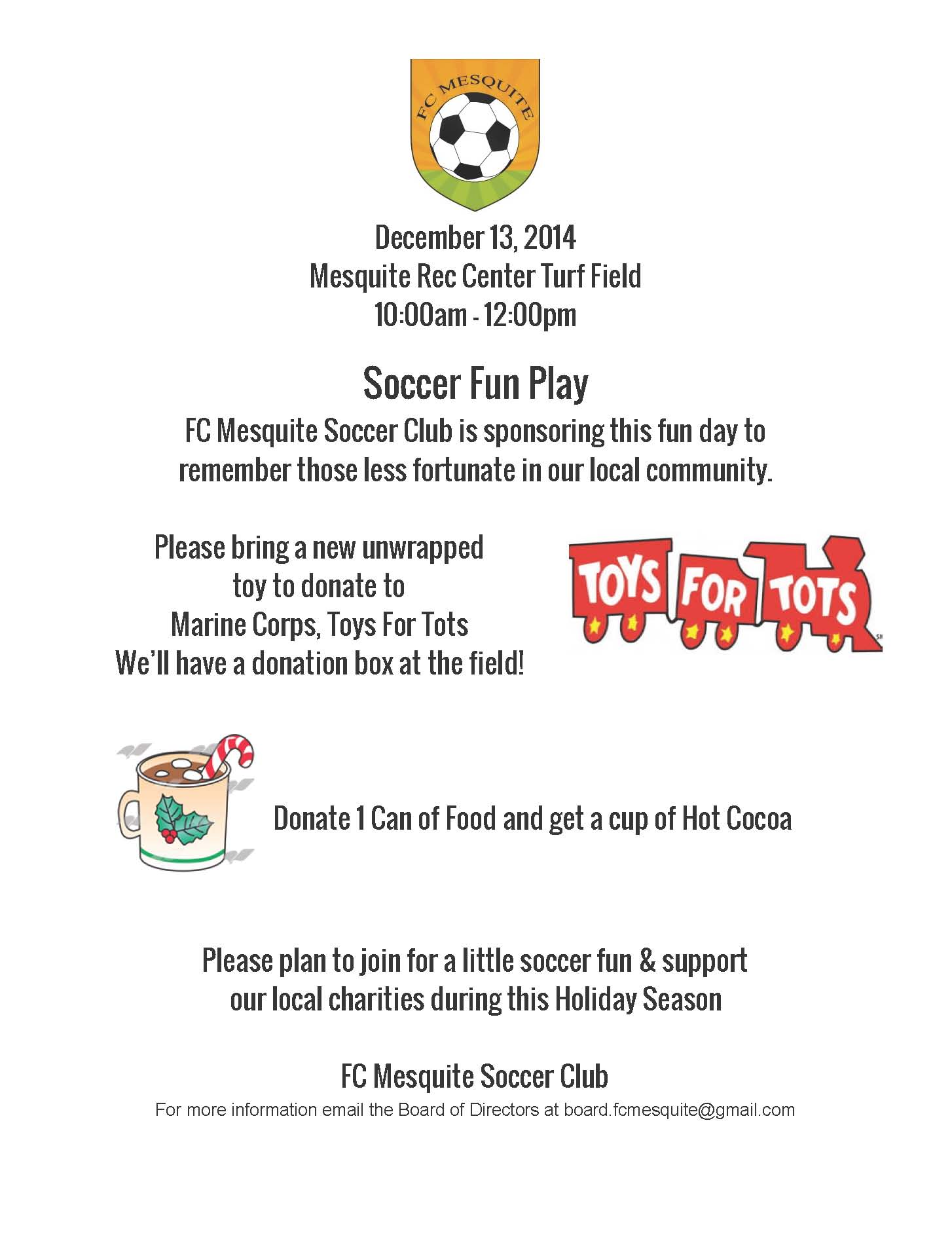 FC Mesquite Soccer to push for more toys for tots