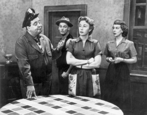 Jackie Gleason, Art Carney, Audrey Meadows and Joyce Randolph in The Honeymooners CBS