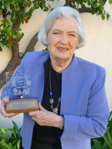 Marilyn Knowlden with her  Cinecon Film Career Achievement Award in 2010. Six of her films were nominated for Best Picture Oscar throughout the 1930s