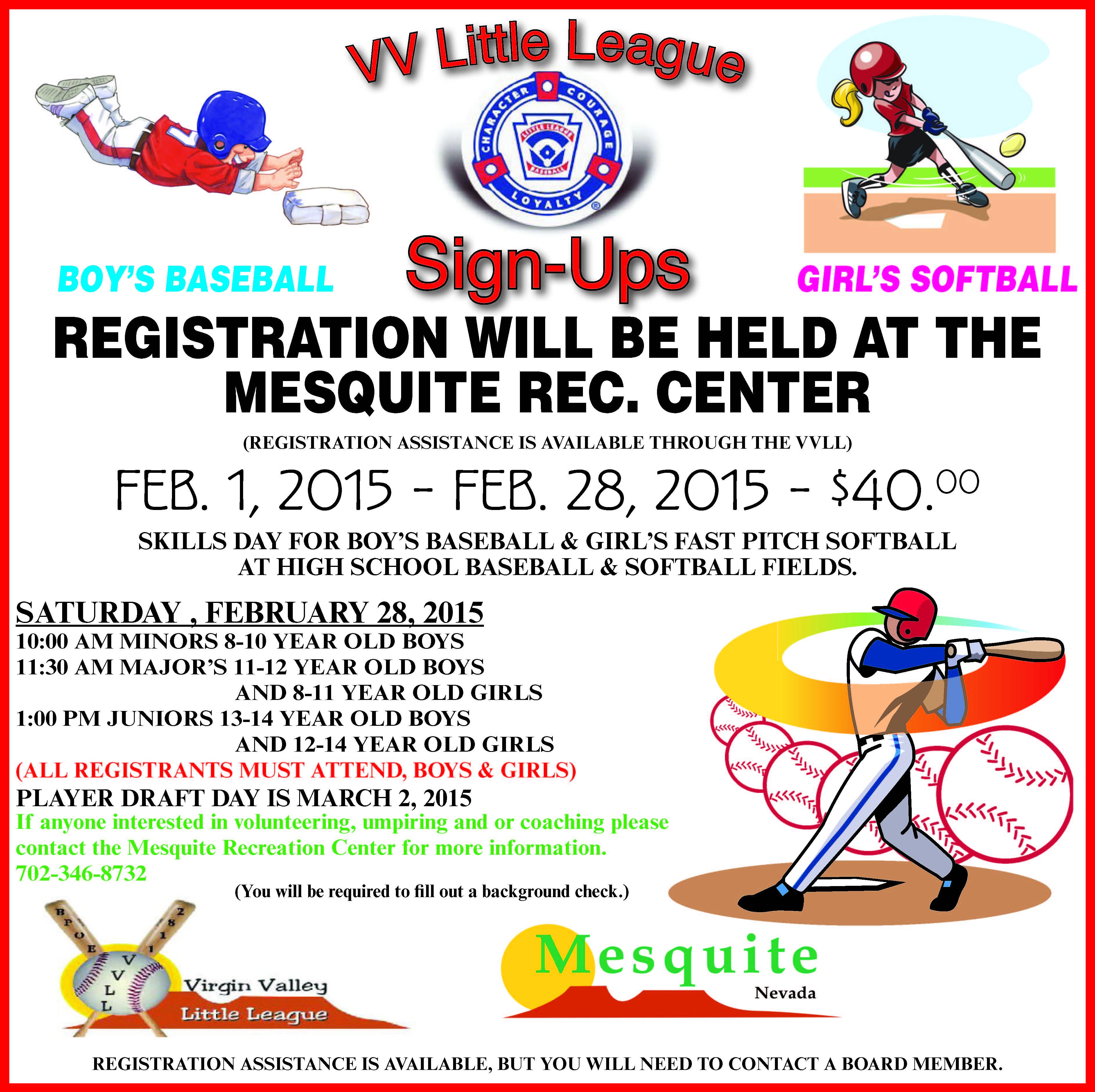 Virgin Valley Little League Baseball & Softball Mass Registration Day!