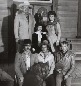 1. Cast of Big Jake. John Wayne and Maureeen O'Hara in back_ Patrick Wayne (L) and Chris Mitchum in front